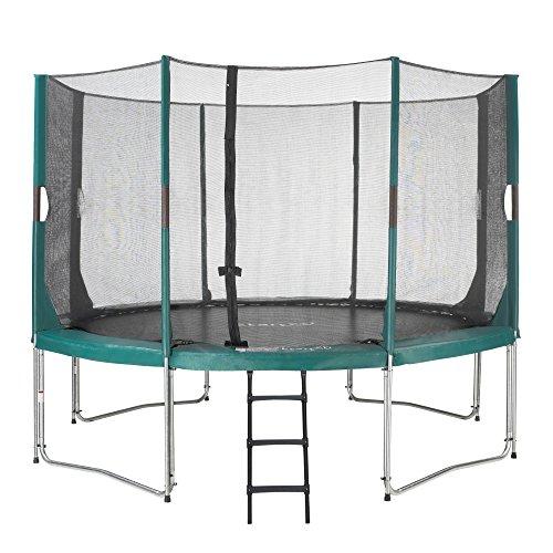Etan Hi-Flyer Outdoor Trampoline Complete with Strong Safety Net - UV Resistant Safety pad & Ladder - Garden Kids Trampoline - Green - Round - 12 ft / 366 cm
