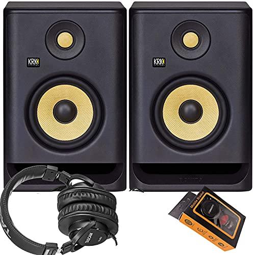 KRK RP5 Rokit 5 G4 Professional Bi-Amp 5 pulgadas Powered Studio Monitor par + TH-MX2 auriculares + soporte magnético para teléfono,...