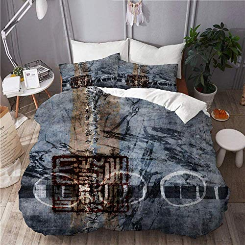 Duvet Cover Abstract Japanese Japan Indigo Black Sepia Calligraphy Circles Rustic Faded Stained Orient Hotel Dorm Decorative 3pcs Bedding Set Matching 2 Pillow Shams C2349