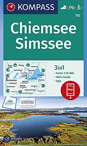 KOMPASS Wanderkarte Chiemsee, Simssee: 3in1 Wanderkarte 1:25000 mit Aktiv Guide inklusive Karte zur offline Verwendung in der KOMPASS-App. Fahrradfahren. Langlaufen. (KOMPASS-Wanderkarten, Band 792)