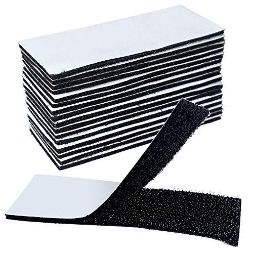 16 STÜCKE Klettbänder On & Off Klettband Selbstklebender Klettverschluss Haken- und Flauschband für Heim und Büro Anwendungen, Extra Stark Klettverschluss in Schwarz mit Klebeseite, 4cm x 10cm / STÜCK