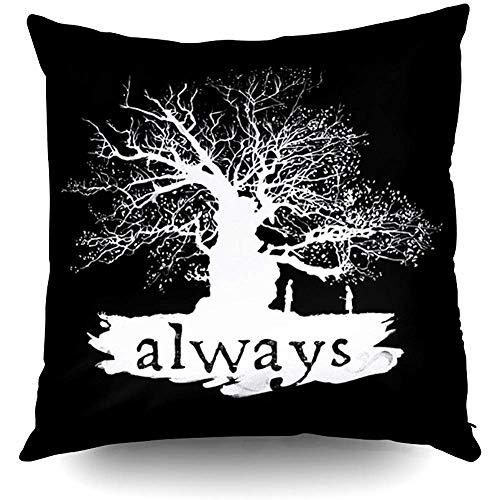 Harry Potter incantesimo cita sempre silhouette decorativo copriletto federa decorazione della casa federa con fodere per cuscini fodera per cuscino con parole per amante del libro divano verme divano