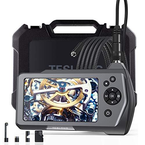 Teslong Video Endoskopkamera, Industrie-Endoskop-Inspektionskamera mit 4.5-Zoll-Bildschirm 5,5 mm Durchmesser Flexible Sonde wasserdichte Schlangenkamera, 32GB TF Karte,Werkzeugkasten (9.8ft)