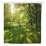 JOOCAR Design Duschvorhang, grüner Baum, Sommerpark in Hamburg Deutschland, wasserfester Stoff, Badezimmerdekor-Set mit Haken