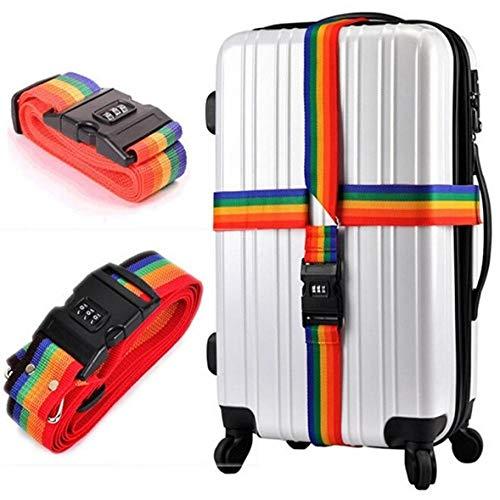 1pc 1 7 m gepäck Gürtel Reise Regenbogen Einstellbare Gepäck Koffer Strap mit Code-schloss Secure Lock Sicher Gürtel Strap