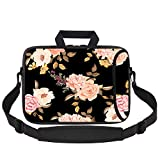 HAOCOO Laptop Shoulder Bag Case Sleeve Water-Resistant Neoprene Computer Case Sleeve with Handle Adjustable Shoulder Strap Laptop Briefcase (17inch, Elegant Flowers)