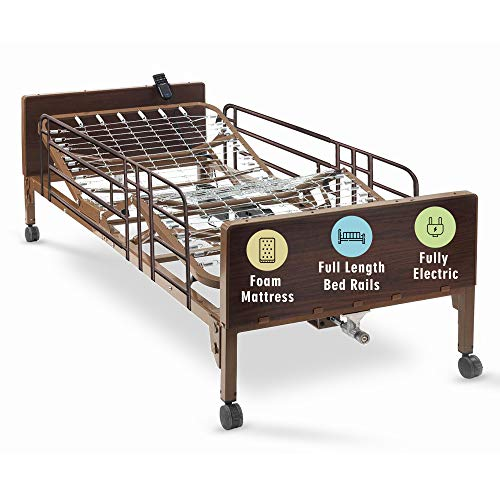Full Electric Hospital Bed with Premium Foam Mattress and Full Rails Included - for Home Care Use...