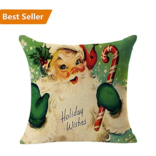 Christmas Pillow Case,Beautyvan Christmas Linen Square Throw Flax Pillow Case Decorative Cushion Pillow Cover (D)