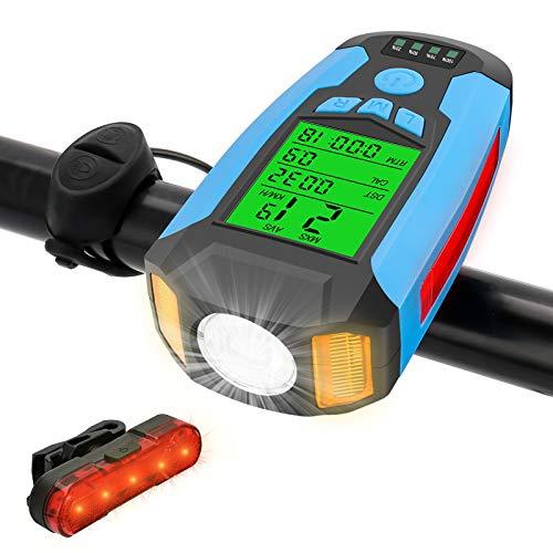 Komake LED Luci Bicicletta, Set fanalini anteriori e posteriori IPX4 Impermeabile Ricaricabili Con Tachimetro e Clacson, Luce Bici per Strada e Montagna