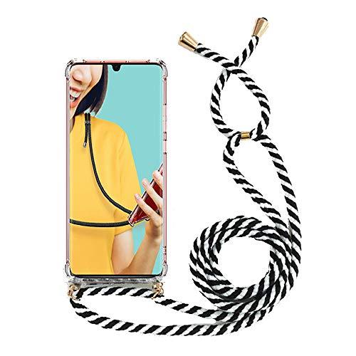 Miagon für Samsung Galaxy S10 Halskette Hülle,Klar Silikon Handy Schutzhülle Kordel zum Umhängen Necklace Crossbody Cover mit Band Schnur,Zebra Schwarz