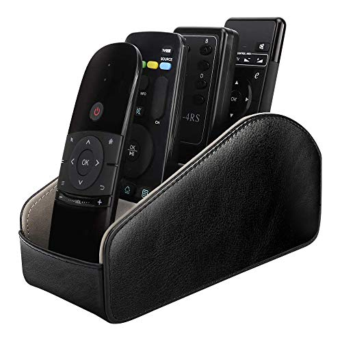 MoKo Remote Control Holder, Leather TV Remote Organizer Remote Caddy Desktop Organizer 5 Compartments for Remote Controllers, Office Supplies, Media Accessory Storage & Organizer - Black