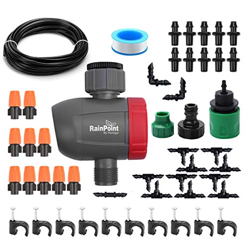 DricRoda Automatic Misting Set, Irrigation System with Timer, Garden Sprinkler Drip Kit, 50ft 1/4' Blank Distribution Tubing Hose for Greenhouse, Eaves, Yard, Patio Lawn, Plants