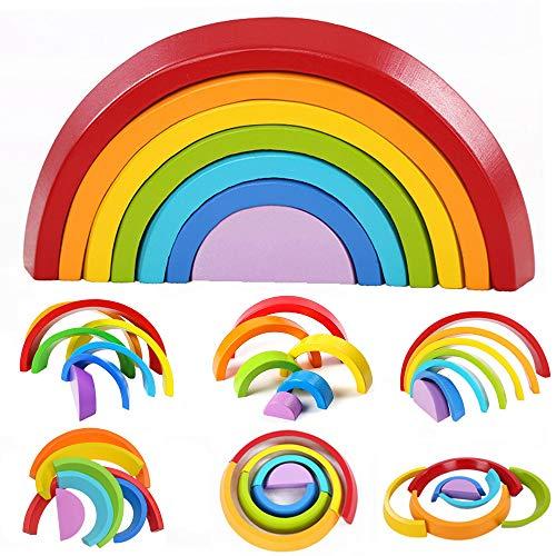 HUADADA Holzbausteine Regenbogen, Lernspielzeug Hölzerner Regenbogen Stapler Große Verschachtelungs Puzzle Spielen Blöcke Bausteine für Kinder .(7 Stücke)