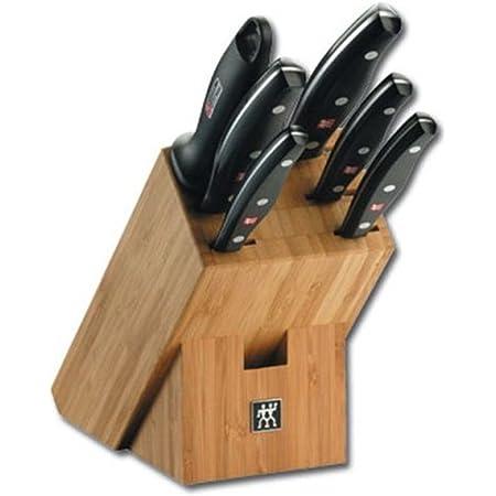 ZWILLING Bloc de Couteaux, 7 Pièces, Bloc en Bambou, Couteaux en Acier Inoxydable Spécial/Manche Plastique, Twin Pollux