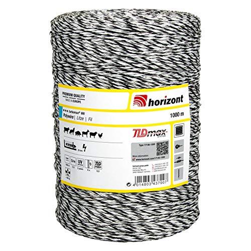 horizont Weidezaunlitze turbomax® W6, 1000 m lang, weiß, 6x 0,30 mm TBmax-Leiter, 180 kg Bruchlast, für lange bis sehr lange Zäune mit starkem Bewuchs, Weidezaunband, Breitband Litze, Elektrozaun