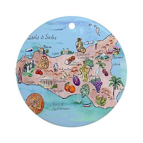 Enidgunter Map of Sicily Ornament - Round Holiday Christmas Ornament