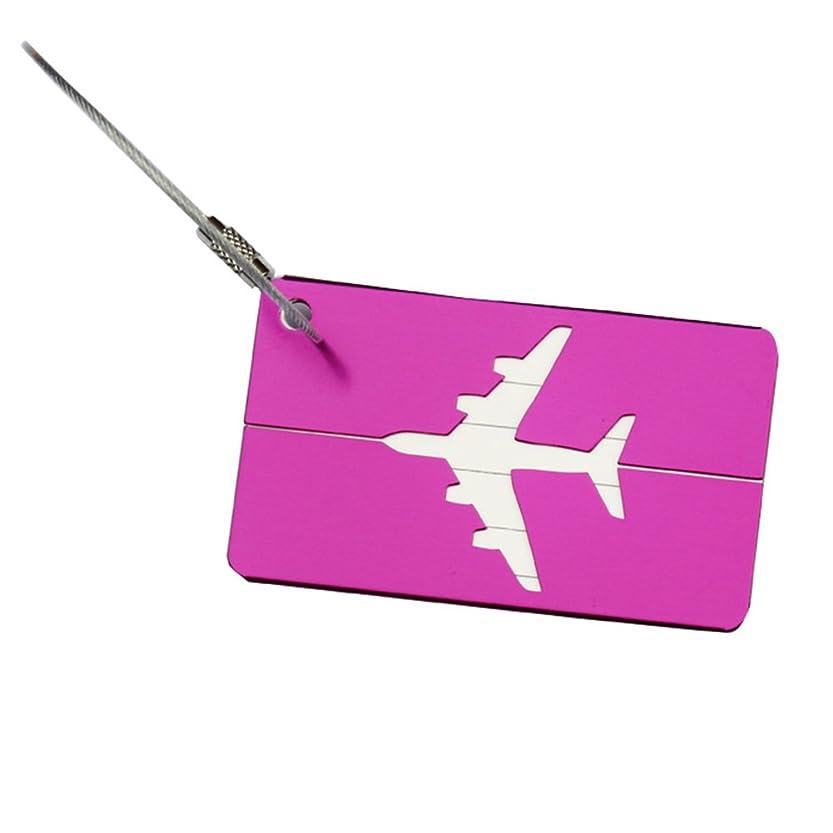 いわゆるグリル腹痛1個の新しいアルミニウム金属旅行荷物ラベルスーツケース名IDアドレスタグ荷物タグ(パープル)