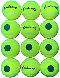 12 x Meister S1 (Stage 1) Green Spot Tennis Balls; 25% Slower Suits 9-10 yr olds