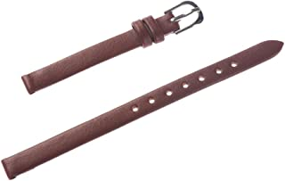 8mm Women's Solid Brown Smooth Genuine Leather Watch Band
