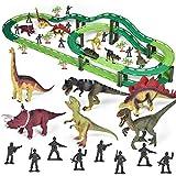 Fun Little Toys Dinosaur Train Set, Electric Cars Toy Set for Kids, Flexible