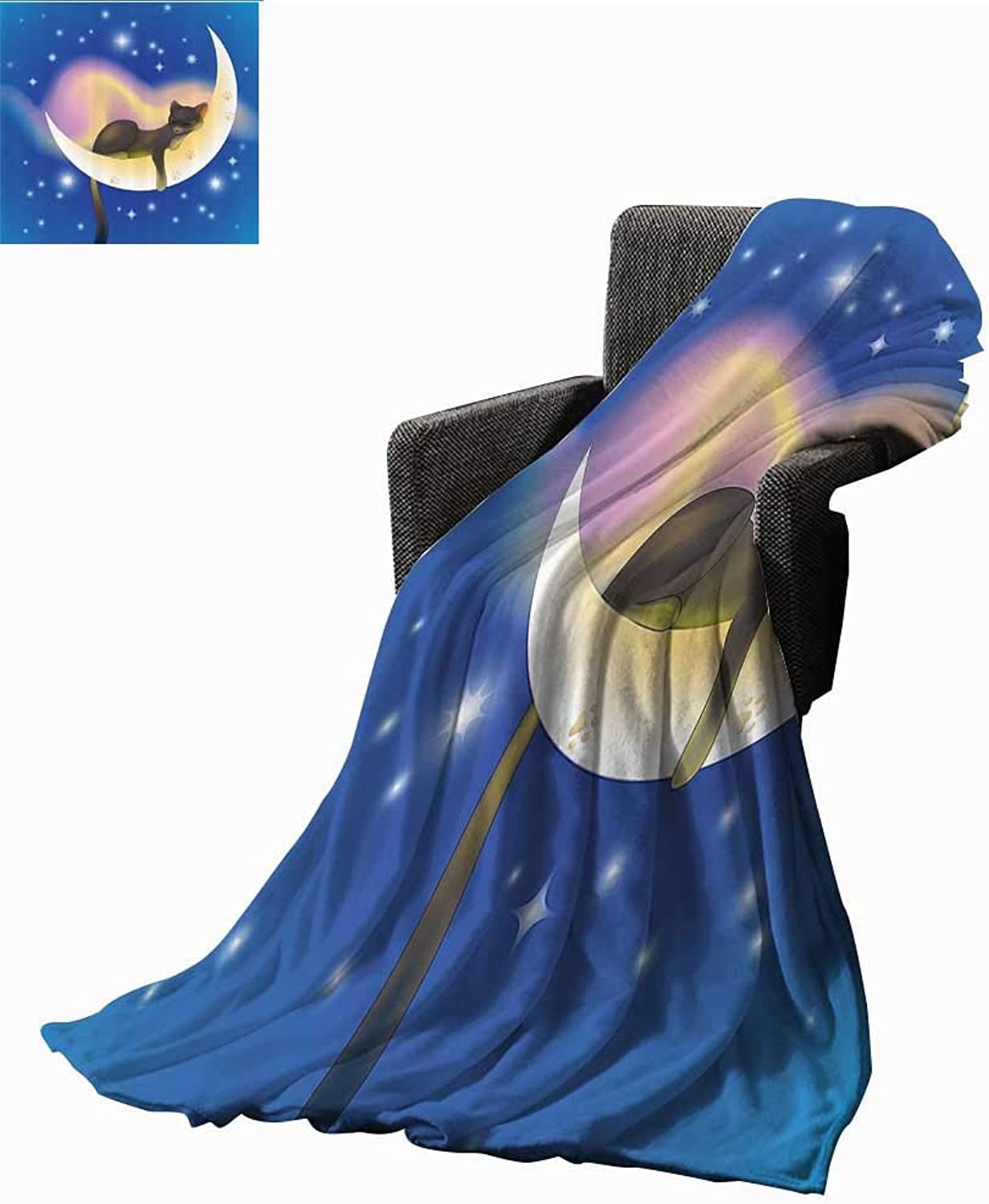 G Idle Sky Cat Home Throw Blanket Cat Sleeping on Crescent Moon Stars Night Sweet Dreams Themed Kids Nursery Design Cozy for Couch Sofa Bed Beach Travel 51  Wx60 L bluee Yellow