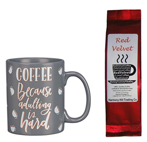 Coffee Because Adulting is Hard Coffee Mug and Red Velvet Words Coffee Gift Set Bundle (2 Items)