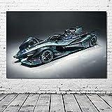 Impresión de Lienzo Ruedas Jaguar Tipo Fórmula E Coches de Carreras Vehículo Arte de la Pared Imagen Póster Sala de Estar Moderna Decoración para el hogar 70x90cm sin Marco