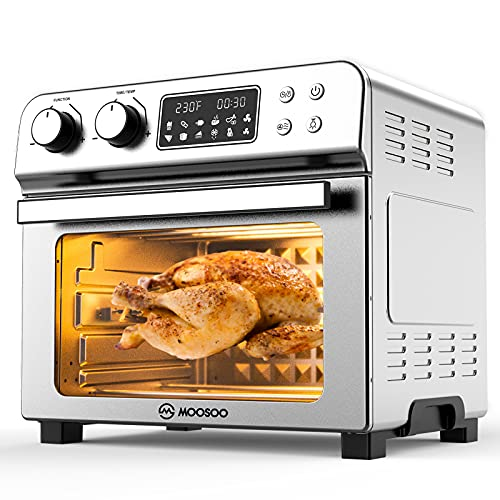 MOOSOO 10-in-1 Air Fryer Toaster Oven, 24 Quart/6 Slices Large Air Fryer Oven, Convection Oven Airfryer with Rotisserie, Dehydrator & Pizza, 100 Recipes & 6 Accessories, 1700 W, Stainless Steel