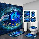Fashion_Man 4PCS Sea World Dolphin Shower Curtain Set Bathroom Shower Curtain Non-Slip Bath Mat Toilet Lid Cover Polyester Waterproof Bath Curtain and Rug Set, with 12 Hooks, 72'x72', Dolphin (4pcs)