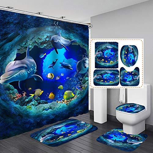 Fashion_Man 4PCS Dolphin Shower Curtain Set with Rugs, Cute Blue Sea Ocean Fish Bathroom Shower Curtain, Non-Slip Bathroom Mat Toilet Rug Bath Mat, Polyester Waterproof Bath Curtain, Dolphin (4pcs)