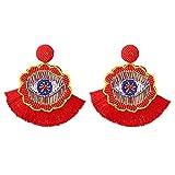 Orecchini da donna con perline a goccia, orecchini a forma di fiore, stile bohémien, gioielli con perline e base metal, colore: Red, cod. E-5293