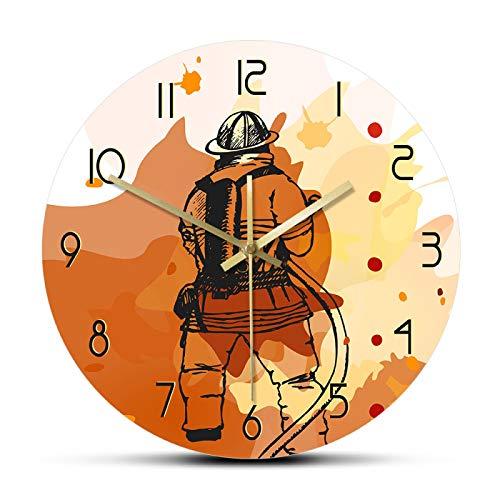 Reloj de pared Reloj de pared con estampado de bombero Reloj de pared silencioso Signo del departamento de bomberos Hombre Cueva Decoración de pared Idea de regalo para bomberos Primeros respondedores