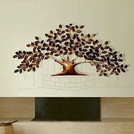 Tejas Enterprises Metal Contemporary Tree of Life   Wrought Iron Hand Made Wall Hanging   Wall Mounted Hanging Metal Art Decor Colorful Design Sculpture for Home Living Room Bedroom Office, TE/306