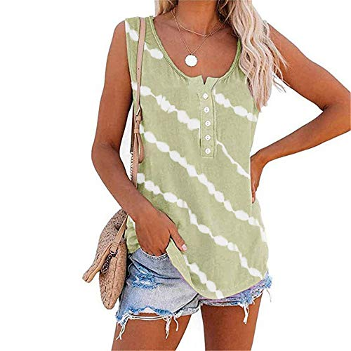 WAQD Women's Summer Tie-Dyed Vest Tank Tops Sleeveless Camisole Tee Shirts Ladies Athletic Running Gym Sportwear Casual Loose Sleeveless Blouse T Shirts Women Vest Tops Sleeveless T-Shirt Green