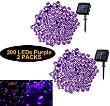 2 Packs Solar String Lights for Outdoor Patio Garden Party Pathway DIY Wedding Bar Holiday Party, 200 LEDs Waterproof Updated Version Solar Powered String Lights(Purple)