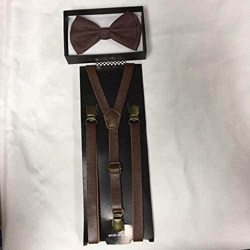 ofreciendo 100% Awesome Vintage Vintage Vintage marrón Bow Tie & Suspender Set- Adjustable Bow Tie & Vinyl Suspenders by Four-seasonstore  al precio mas bajo