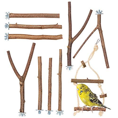 10er Natur Sitzstangen Set für Vögel inkl. GRATIS Schaukel und 3 Y Stangen für Wellensittich, Nymphensittich & Co