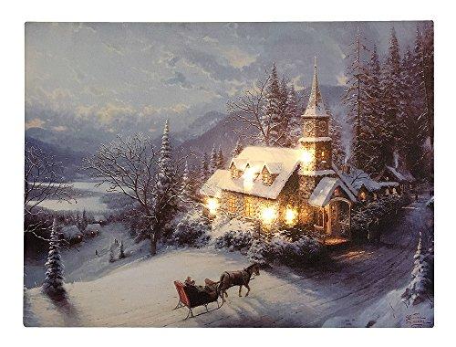 LED Bild Winterlandschaft Kirche in den Bergen Weihnachten Leinwand Wandbild 28x38cm