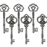 Makhry Mezclado 20 Extra Grande Antiguo Acabado de Estaño Llaves Esqueléticas Clave Rústica Para el Favor de la Fiesta de Boda (Estaño Antiguo)
