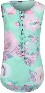TINGZI Women Tees Summer Sleeveless Loose Button Printed Chiffon Top Blouse Slim Fit Comfy Tunic