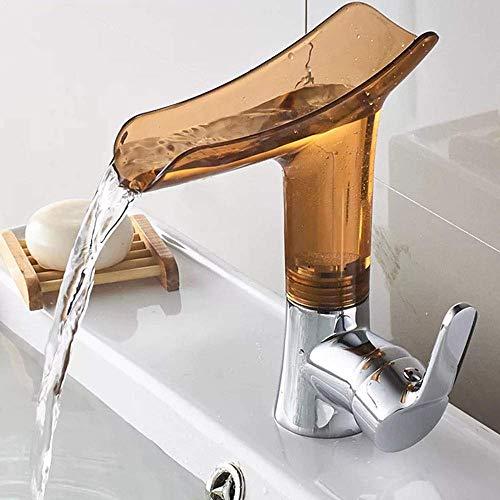 FFAN Llave para Lavabo de baño Estilo Llave, Grifo de Agua fría y Caliente, el Flujo de Agua es Suficiente, fácil de Instalar Bien Hecho (Color: marrón)