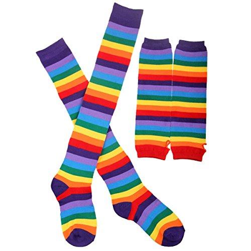 Tinksky Regenbogen-Streifen Arm-Wärmer Bein-Strumpf Bunte Oberschenkel Hohe Socken Fingerlose Handschuhe Hülsen-Set für Frauen Mädchen Karneval Party Stützen