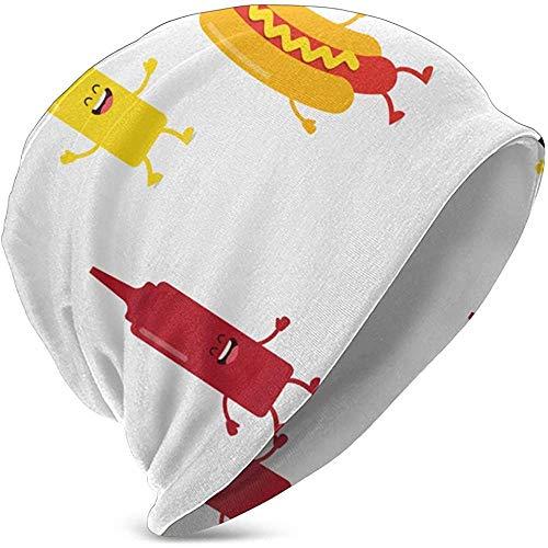 N \ A Botellas de perro caliente Mostaza y Ketchup Niños Knit Hat Moda Otoño/Invierno Knit Cap Hedging Cap Cap Casual Cap Gorra Algodón Cap
