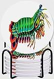 CIKYOWAY Posavasos para Bebidas,Crustáceos Mantis Pavo Real Camarones Acuario de Arrecife Estomatópodos de Agua Salada Odontodactylus Juego de 6 Posavasos con Soporte,para Casa Restaurante Y Bar