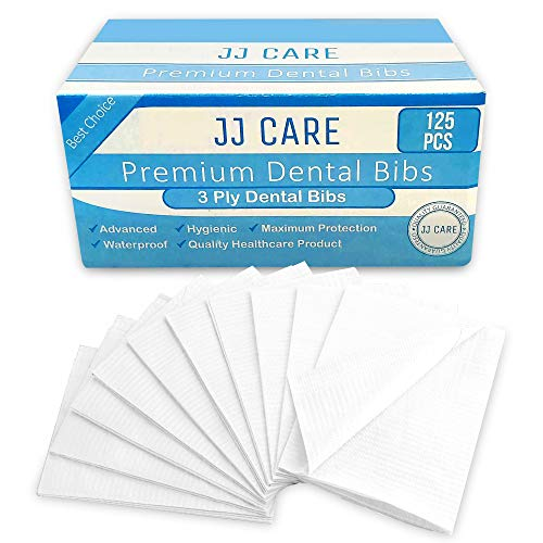 [UPGRADED] Pack of 125 White Dental Bibs, 3 Ply Waterproof Bibs 13 x 18 inches Disposable Patient Bibs, Dentist Bibs, Waterproof Tattoo Bibs, Dental Patient Bibs, Dental Bib and Dental Napkins