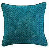 Nimsay Home Menaal - Funda de cojín cuadrada para sofá de cama, polialgodón, diseño de cheurón, color verde azulado, cuadrado (45,7 x 45,7 cm)