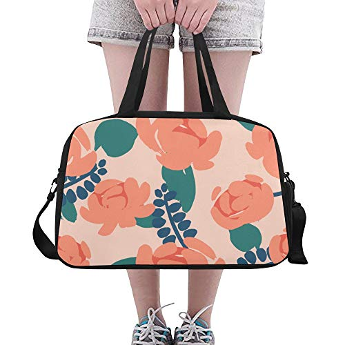 XiexHOME Girl Gym Bag Orange Retro Flower Calendula Yoga Gym Totes Fitness Handbags Duffel Bags Shoe Pouch For Sport Luggage Womens Outdoor Lightweight Duffel