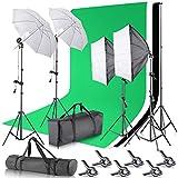 Neewer Foto Estudio 2.6x3m Sistema de Soporte de Telón de Fondo con 3x3.6 Metros de Fondo, 800W 5500K Kit de Iluminación de Paraguas Continua para Fotografía