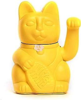 Gatto Fortunato Cinese. Gatto portofortuno. Lucky cat. Maneki Neko. COLORE GIALLO 10x6x15cm