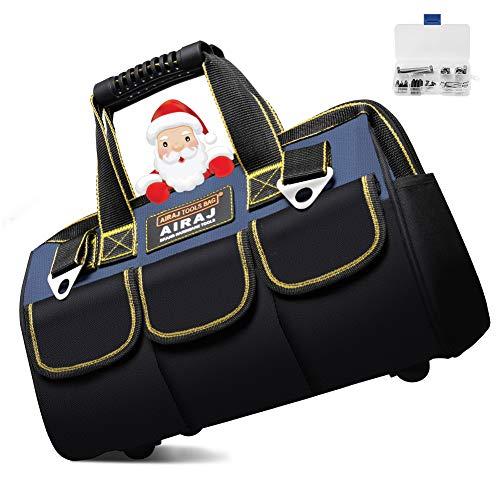 AIRAJ Werkzeugtasche,31×17×23cm,Faltbare Werkzeugtasche mit Innentasche zur Aufbewahrung von Werkzeugen,Gummipolster unten,Geeignet für Haushalt,Zimmerei,Werkzeugkoffer für Elektriker